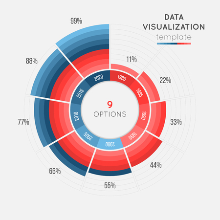Modèle infographique de vecteur cercle graphique pour la visualisation de données Banque d'images - 78532781