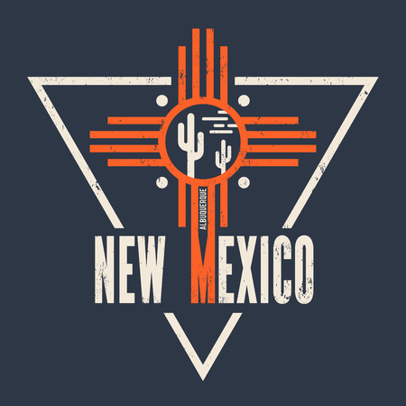 New Mexico t-shirt design, print, typography, label.