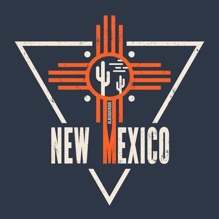 albuquerque: New Mexico t-shirt design, print, typography, label.
