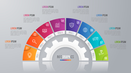Vector circle chart template for infographics 8 options.
