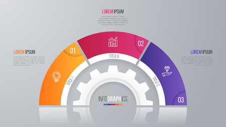 Vector circle chart template for infographics 3 options.