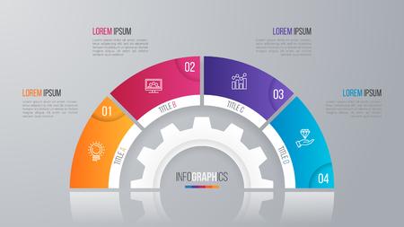Modèle de diagramme de cercle Vector pour options 4 infographie. Banque d'images - 78532895