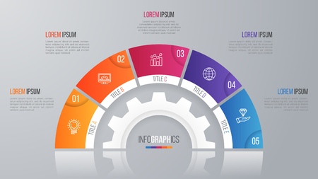 Vector circle chart template for infographics with 5 options. Ilustrace