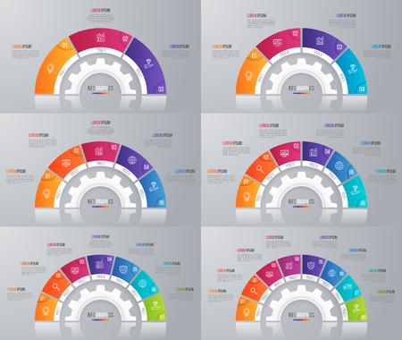 インフォ グラフィックのベクター円グラフ テンプレートのコレクション