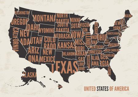 アメリカ合衆国の地図は印刷ポスター ビンテージ デザインです。