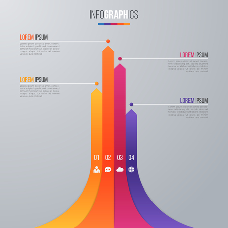 Bar chart infographic template for data visualization with 4 opt