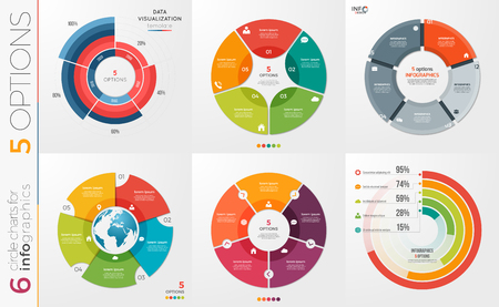 Collection of 6 vector circle chart templates for infographics w Ilustração