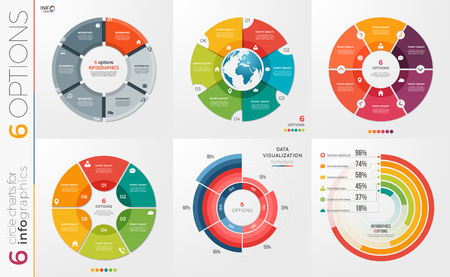 Collection of 6 circle chart templates 6 options.