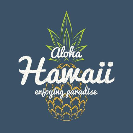 Hawaii enjoying paradise tee print with pineapple. Stock Illustratie