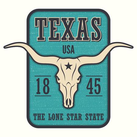 ロングホーン スカルとテキサス州の t シャツを印刷します。  イラスト・ベクター素材