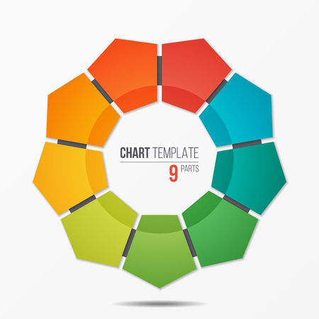 Polygonal circle chart infographic template with 9 parts
