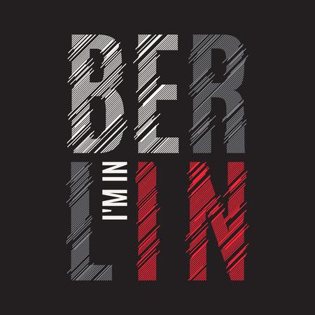 Berlin tee-print. T-shirt ontwerp grafische stempel label typografie