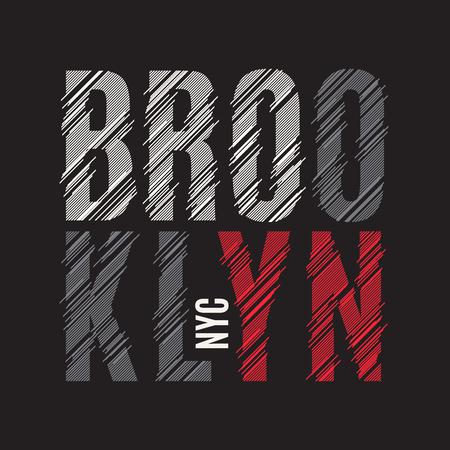 Brooklyn New York tee print. T-shirt design graphics stamp label Illustration