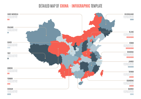 Detailed map of China. Vector template for infographics. Illustration