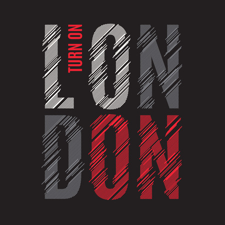 London tee print. T-shirt design graphics stamp label typography Illustration