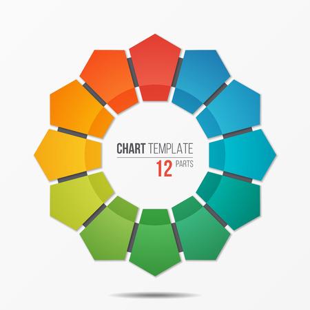 多角形円グラフ インフォ グラフィック テンプレート 12 パーツ