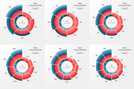 データ visuali のベクトル円グラフ インフォ グラフィック テンプレートのセット