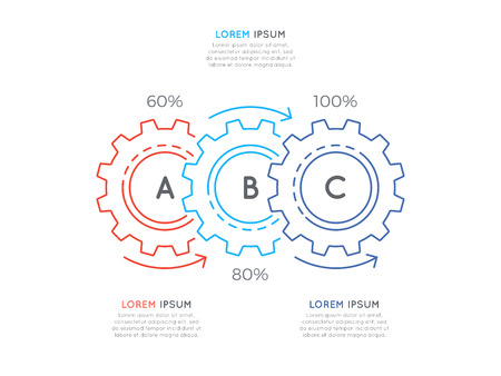 Thin line business infographic template with gears cogwheels 3 s