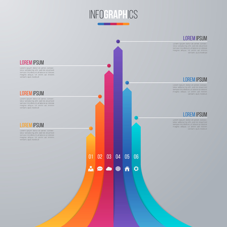 Bar chart infographic template with 6 options. Illustration