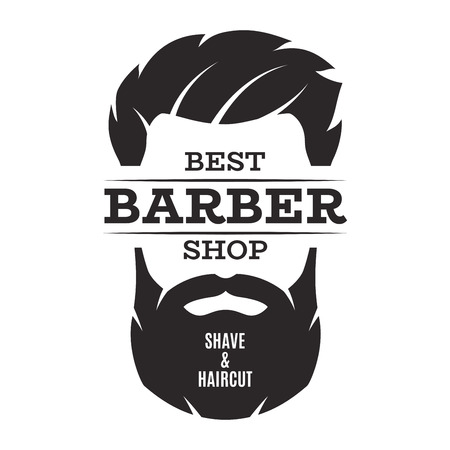 Barber shop isolated vintage label badge emblem. Çizim