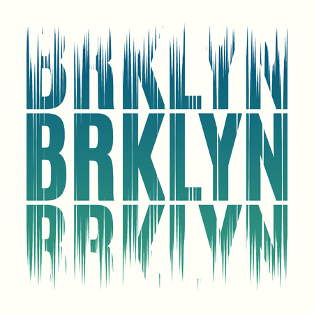 Brooklyn New York tee print. T-shirt design graphics stamp label Çizim