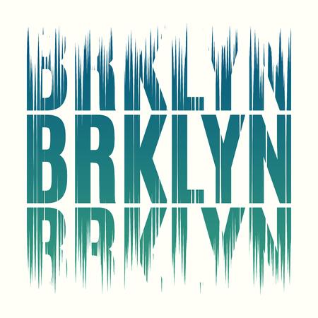 Brooklyn New York tee print. T-shirt design graphics stamp label Vettoriali