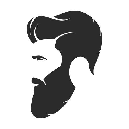 Bearded man, hipster style. Fashion silhouette, avatar, emblem,