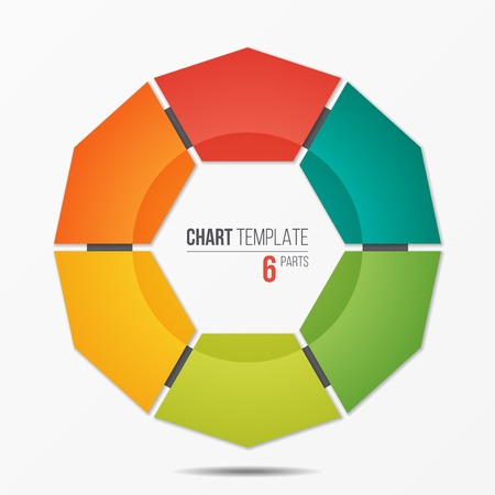 Polygonal circle chart infographic template with 6 parts Stock Illustratie