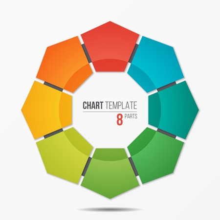 Polygonal circle chart infographic template with 8 parts Ilustração