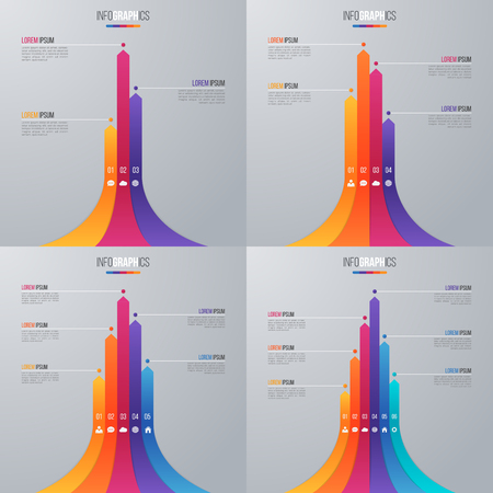 Bar chart infographic template with 5 options. Banco de Imagens - 79986475
