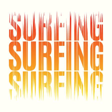 Surfing tee print. T-shirt design graphics stamp label typograph