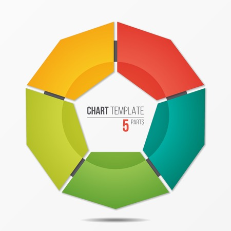 Polygonal circle chart infographic template with 5 parts
