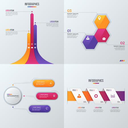 part time: Collection of vector templates for infographics with 3 options Illustration