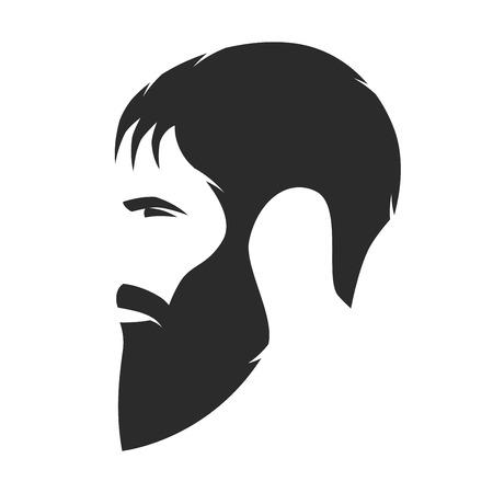 Silhouette of a bearded man, hipster style. Barber shop emblem. Illusztráció
