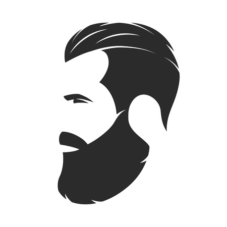 Silhouette of a bearded man, hipster style. Barber shop emblem.