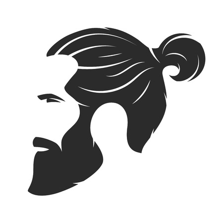 Silhouette of a bearded man, hipster style. Barber shop emblem. 矢量图像
