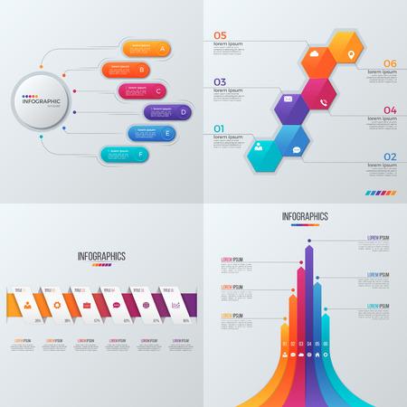 Raccolta di modelli vettoriali per infografica con 6 opzioni Archivio Fotografico - 80437204
