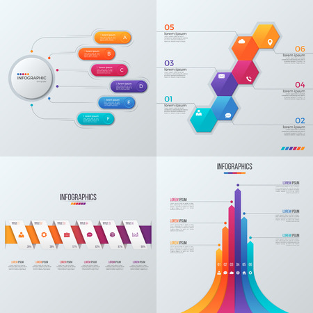 Collection of vector templates for infographics with 6 options