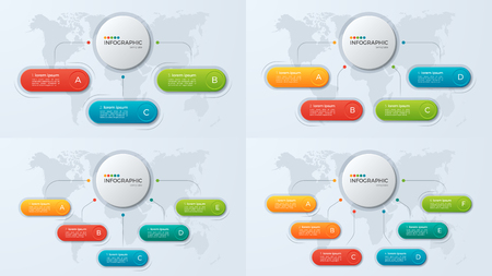 Set of presentation business infographic templates with 3-6 opti Illustration