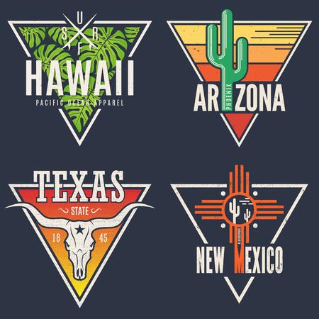 ハワイのアリゾナ州テキサス州ニュー メキシコ t シャツのセットを印刷します。  イラスト・ベクター素材