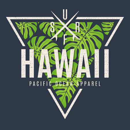 Hawaii tee print with with tropical leaves