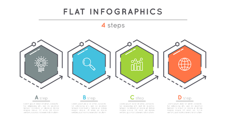 Flat style 4 steps timeline infographic template.