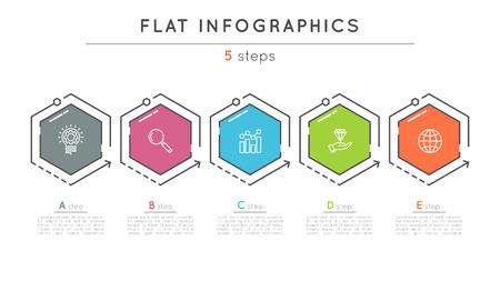 Flache Stil 5 Schritte Timeline Infografik Vorlage. Standard-Bild - 80838106
