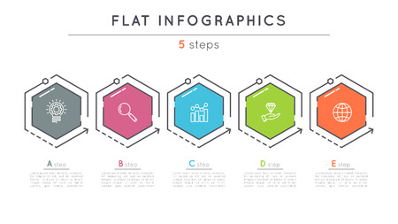 Flat style 5 steps timeline infographic template. Vettoriali