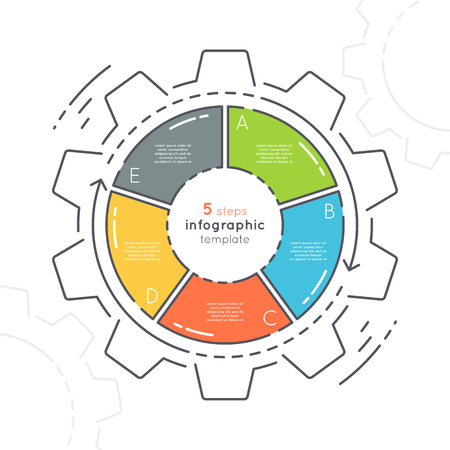 Gear shaped flat style infographic template with 5 steps.
