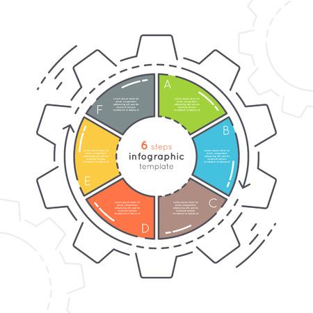 Gear en forme de modèle infographique de style plat avec 6 étapes. Banque d'images - 80838111