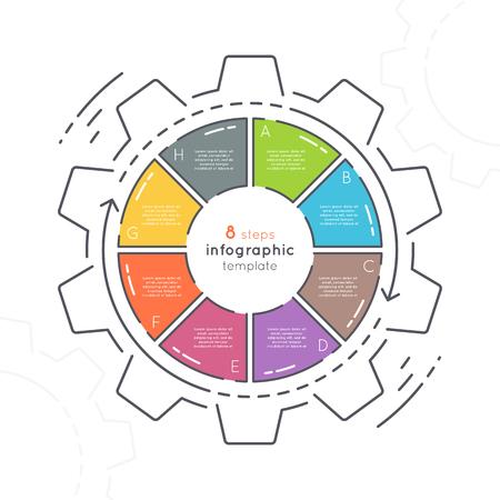 Infographic sjabloon met tandwielvormige vlakke stijl met 8 stappen.