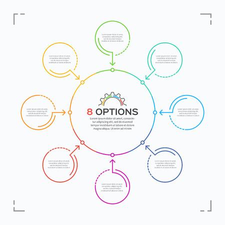 8 가지 옵션이있는 최소 스타일 서클 인포 그래픽 템플릿.