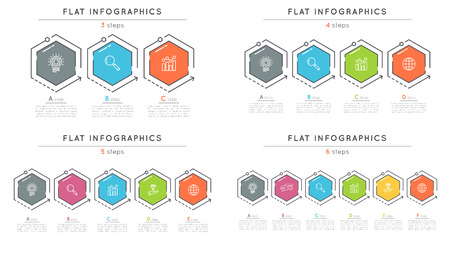 Set of flat style 3-6 steps timeline infographic templates.