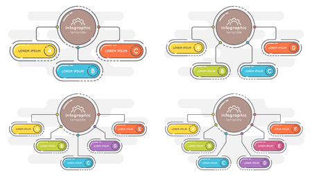 Set of flat style 3-6 options presentation infographic template.